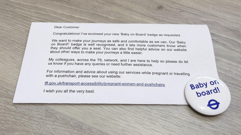 FREE Baby on Board Badge from Transport for London