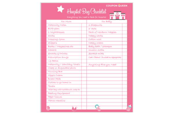 FREE Maternity Hospital Bag Checklist