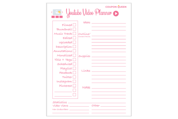 FREE Printable YouTube Video Planner