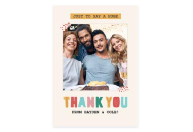 FREE Thank You Card From Moonpig